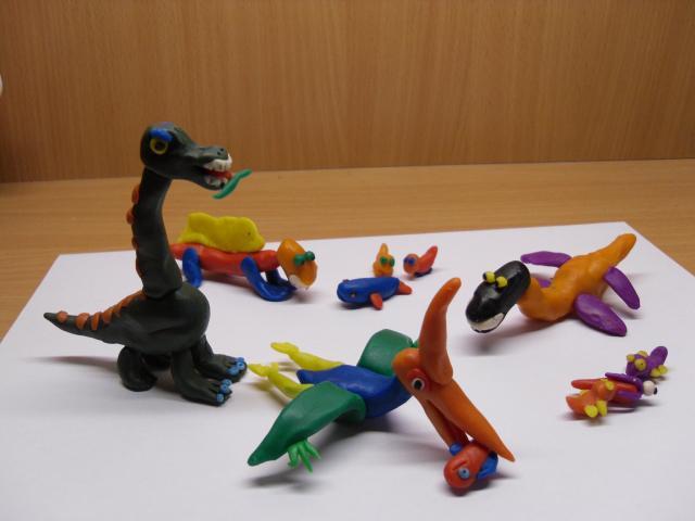 Поделки динозавры из пластилина